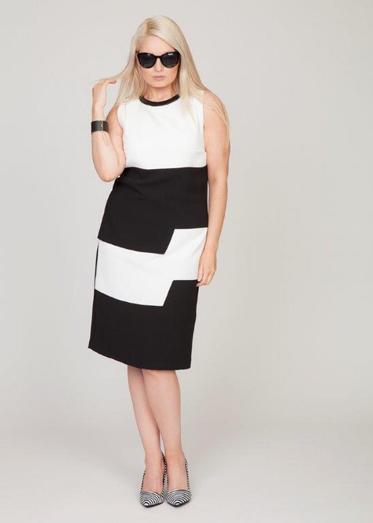 Black Personal Choice Black And White Block Step Dress