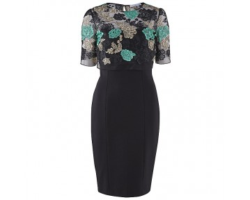 Gina Bacconi Ponte Dress with embroidered overtop