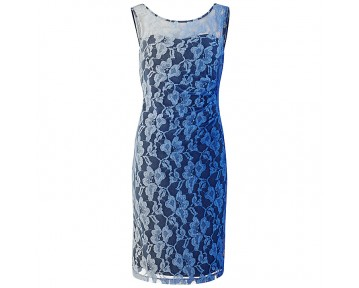Gina Bacconi Ombre Stretch Lace Ruched Dress,