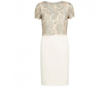 Gina Bacconi cream dress, gold and grey overlay