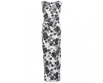 Gina Bacconi Floral Pique Knit Dress With Boat Neck, White/Black