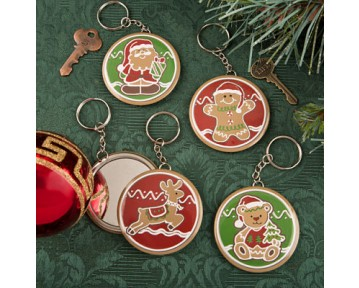 4 Gingerbread themed Christmas pocket mirror with key chain