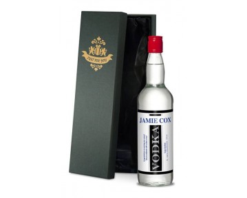 Personalised Vodka with Black Stripe Label in a Premium Silk Lined Box
