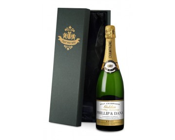 Champagne Gold Anniversary Label in a silk lined Gift Box