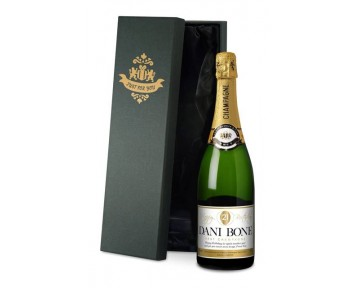 Personalised Champagne Balloon Birthday Label in a silk lined Gift Box