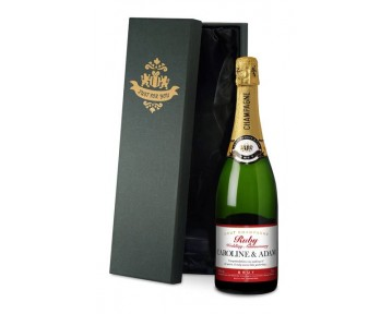 Champagne with Ruby Anniversary Label in a silk lined Gift Box