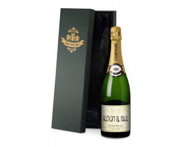 Champagne with Reception Wedding Label in a silk lined Gift Box