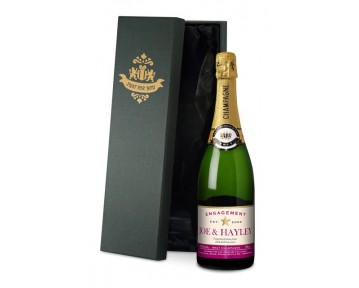 Personalised Champagne Star Engagement Label-silk lined Box