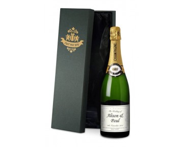 Champagne with Wedding Celebration Label in a silk lined Gift Box