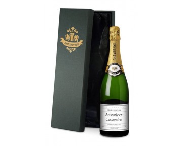 Personalised Champagne Wedding Label in a silk lined Gift Box
