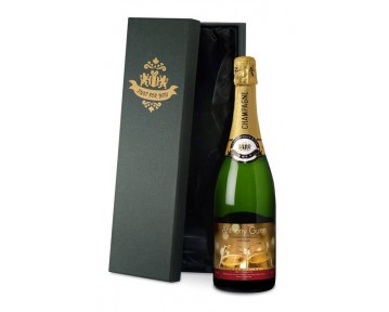Personalised Champagne Valentine Flutes Label in a silk lined Gift Box