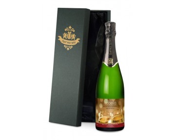 Cava with Flutes Valentines Label in a Silk Lined Gift Box