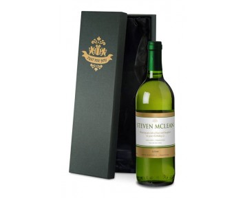 Personalised French VdP White Wine with Gold Label in Silk Lined Box