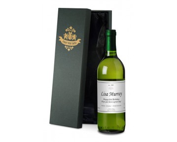 Personalised French VdP White Wine with Classic in Silk Lined Box