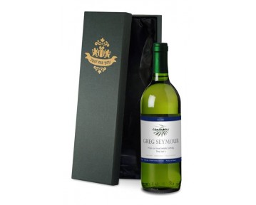 Personalised French VdP White Wine Blue Label in Silk Lined Box