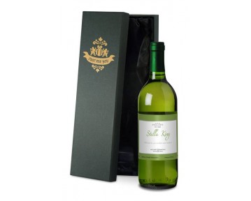 Personalised French VdP White Wine with Green Frame in Silk Lined Box