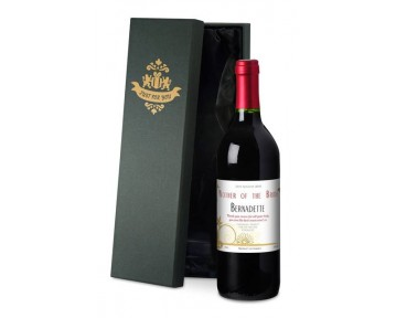Personalised French VdP Red Wine with Flowers Wedding Label in a Silk Box