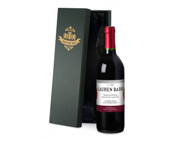 Personalised French VdP Red Wine Red Flowers Label in a Silk Lined Box