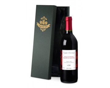 Personalised French VdP Red Wine with Red Roses Label in a Silk Lined Box