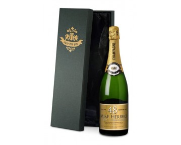 Personalised Champagne Gold Birthday Label in a silk lined Gift Box