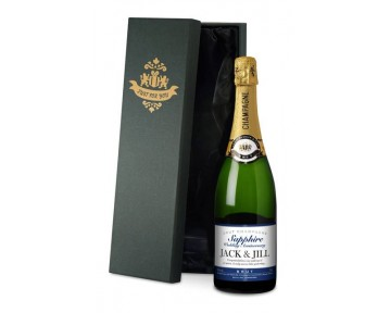 Champagne Sapphire Anniversary Label in a silk lined Gift Box