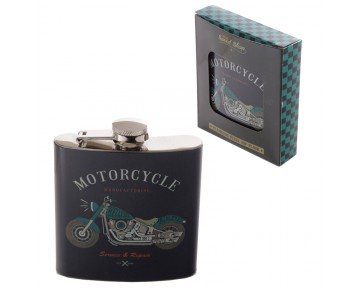 Fun Retro Motorcycle Stainless Steel Hip Flask - 6oz