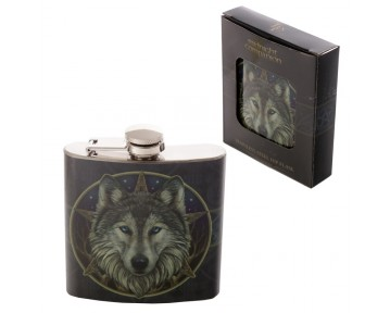 Fun Wolf Stainless Steel Hip Flask - 6oz
