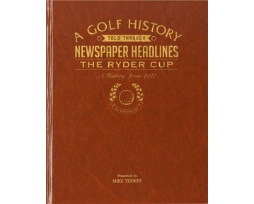 Ryder Cup Golf Newspaper Book - Brown Leatherette (Colour Pages)
