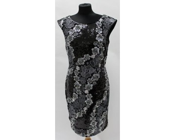 Apanage black and silver sequinned dress