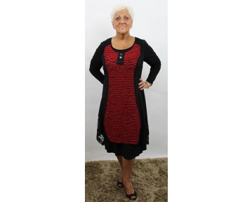 Personal Choice Red & Black Jersey Dress