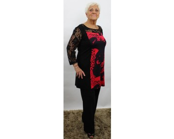 Personal Choice Red/Black Lace Top