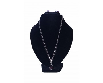 Purple stone teardrop necklace and earing set