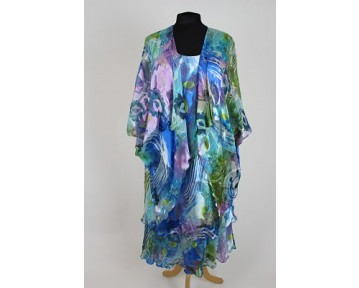 Kirsten Krog blue silk print dress