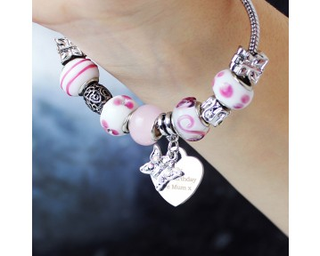 Personalised Butterfly & Heart Charm Bracelet - 18cm or 21cm