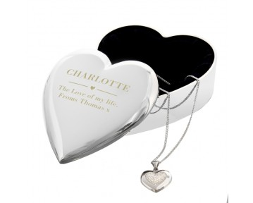Personalised Engraved Heart Trinket Box & Silver Crystal Heart Pendant Gift Set