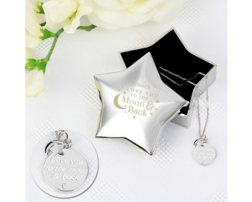 Personalised Engraved Moon and Back Star Trinket Box & Silver Pendant Gift Set