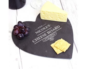 Personalised Decorative Slate Heart Cheeseboard
