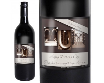 Personalised Affection Art Mum Red Wine with Gift Box