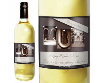 Personalised Affection Art Mum White Wine with Gift Box