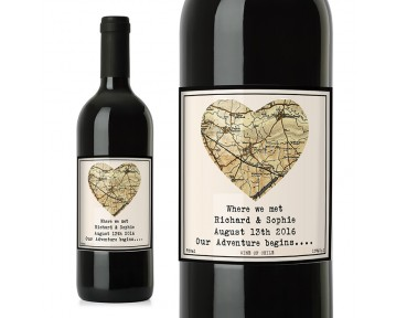 Personalised 1896 - 1904 Revised New Map Heart Red Wine