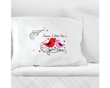 Personalised Love Birds Pillowcase