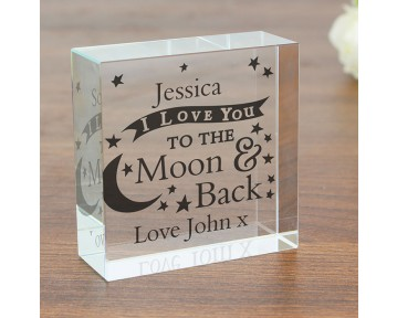 Personalised To the Moon and Back... Medium Crystal Token