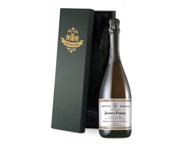 Personalised Prosecco with Classic White Label in a Silk Lined Box