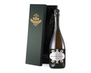 Personalised Prosecco with Thank You Squares Label in a Silk Lined Box