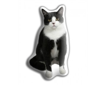 Black & White Cat Shaped Cushion