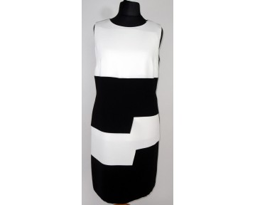 Personal Choice Black and White Block step dress (plus sizes)