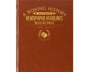 Boxing Newspaper Book - Brown Leatherette (Colour Pages)